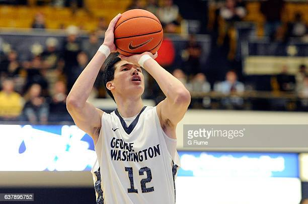 Yuta Watanabe of the George Washington Colonials shoots a free throw against the MarylandEastern Shore Hawks at Charles E Smith Athletic Center on...