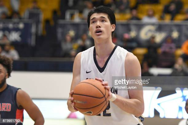 Yuta Watanabe of the George Washington Colonials takes a foul shot during a college basketball game against the Howard Bison at the Smith Center on...