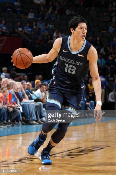 Yuta Watanabe of the Memphis Grizzlies handles the ball during a preseason game against the Oklahoma City Thunder on October 16 2019 at Chesapeake...