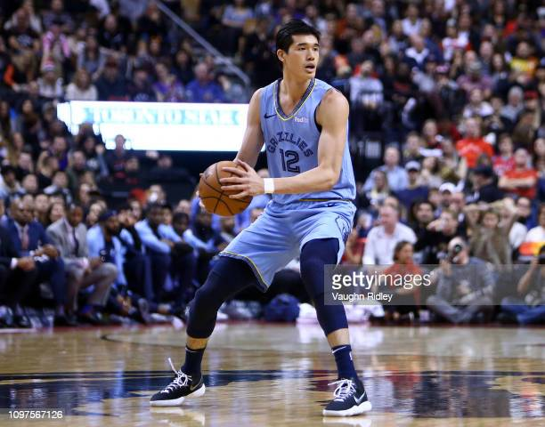 Yuta Watanabe of the Memphis Grizzlies passes the ball during the 2nd half of an NBA game against the Toronto Raptors at Scotiabank Arena of January...