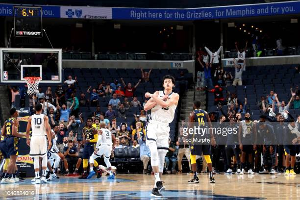 Yuta Watanabe of the Memphis Grizzlies reacts against the Indiana Pacers during a preseason game on October 6 2018 at FedExForum in Memphis Tennessee...