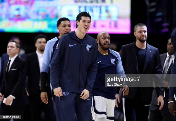 Yuta Watanabe of the Memphis Grizzlies reacts on the bench during their game against the Sacramento Kings at Golden 1 Center on December 21 2018 in...