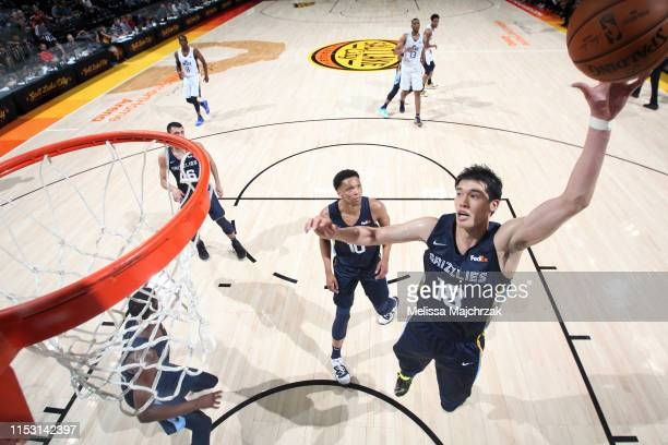 Yuta Watanabe of the Memphis Grizzlies rebounds the ball against the Utah Jazz on July 1 2019 at vivintSmartHome Arena in Salt Lake City Utah NOTE TO...