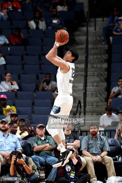 Yuta Watanabe of the Memphis Grizzlies shoots the ball against the Indiana Pacers during a preseason game on October 6 2018 at FedExForum in Memphis...