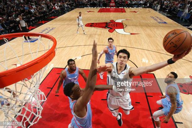 Yuta Watanabe of the Memphis Grizzlies shoots the ball during the game against the Chicago Bulls on December 4 2019 at the United Center in Chicago...