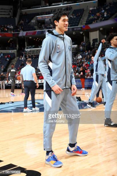 Yuta Watanabe of the Memphis Grizzlies smiles before the game against the Houston Rockets on January 14 2020 at FedExForum in Memphis Tennessee NOTE...
