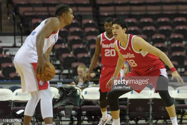 Yuta Watanabe of the Memphis Hustle defends against the Agua Caliente Clippers during an NBA GLeague game on December 30 2019 at Landers Center in...