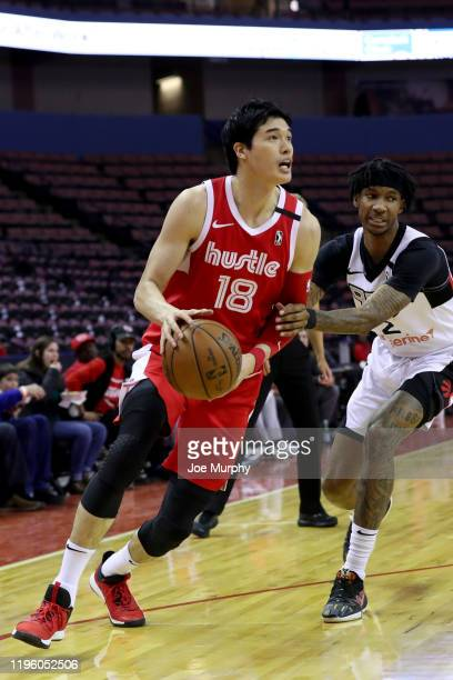 Yuta Watanabe of the Memphis Hustle dribbles the ball against the Raptors 905during an NBA GLeague game on January 24 2020 at Landers Center in...