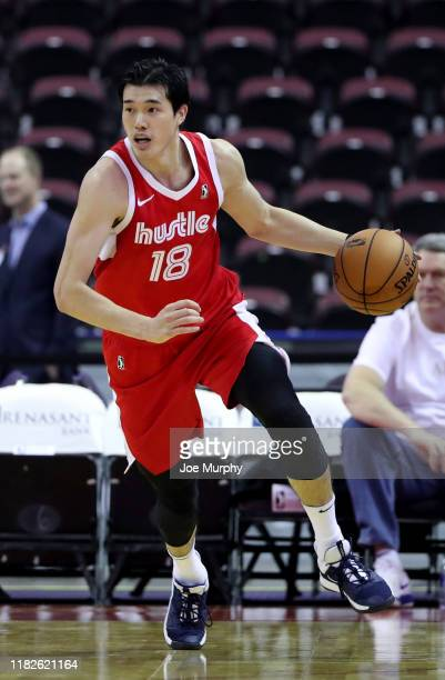 Yuta Watanabe of the Memphis Hustle dribbles the ball up court against the Stockton Kings during an NBA GLeague game on November 15 2019 at Landers...