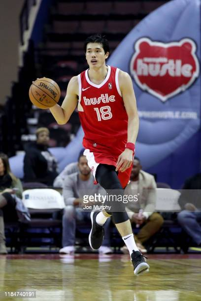 Yuta Watanabe of the Memphis Hustle dribbles the ball up court against the Maine Red Claws during an NBA GLeague game on November 25 2019 at Landers...