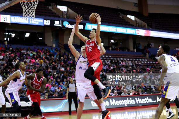 Yuta Watanabe of the Memphis Hustle drives to the basket for a layup against the Santa Cruz Warriors during an NBA GLeague game on January 30 2019 at...