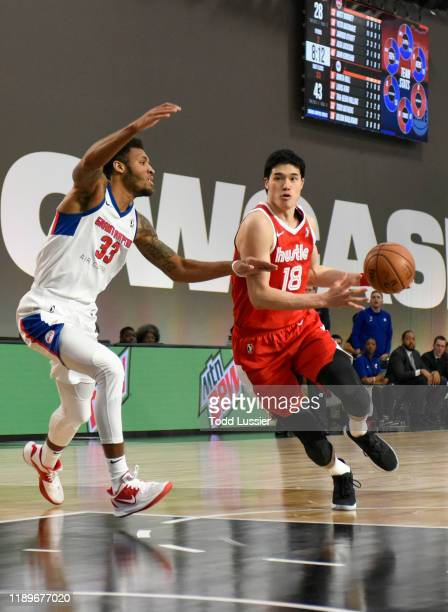 Yuta Watanabe of the Memphis Hustle handles the ball against the Grand Rapids Drive during the NBA G League Winter Showcase at Mandalay Bay Events...