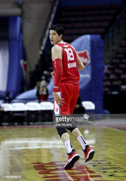 Yuta Watanabe of the Memphis Hustle reacts against the Delaware Blue Coats during an NBA GLeague game on January 22 2020 at Landers Center in...