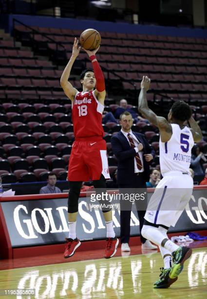 Yuta Watanabe of the Memphis Hustle shoots jump shot against the Delaware Blue Coats during an NBA GLeague game on January 22 2020 at Landers Center...