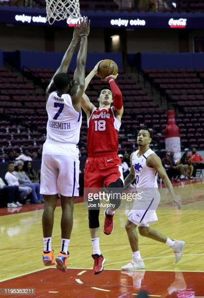 Yuta Watanabe of the Memphis Hustle shoots the ball against the Delaware Blue Coats during an NBA GLeague game on January 22 2020 at Landers Center...