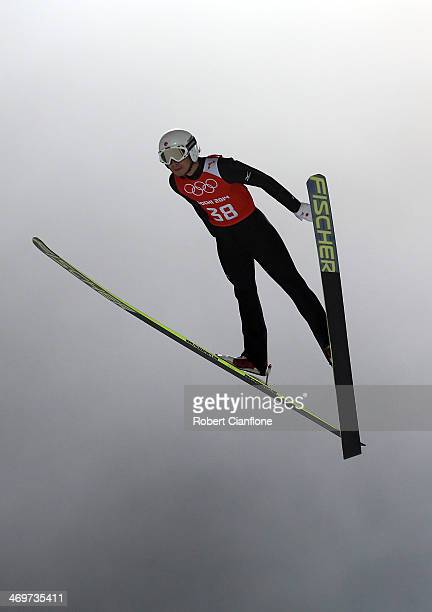 Yuta Watase of Japan jumps during the Ski Jumping Men's Large Hill Official Training on day 9 of the Sochi 2014 Winter Olympics at RusSki Gorki...