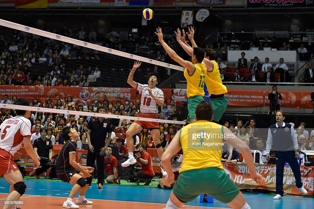 Yuta Yoneyama #18 of Japan spikes the ball during the Men's World Olympic Qualification game between Australia and Japan at Tokyo Metropolitan Gymnasium on June 2, 2016 in Tokyo, Japan.