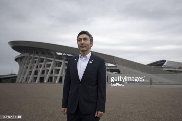 Yutaka Kumagai Rifu Town Mayor in front of the Venue for Tokyo 2020 football games Grande 21 Miyagi Stadium 8 September 2018 Rifu Japan The largest...