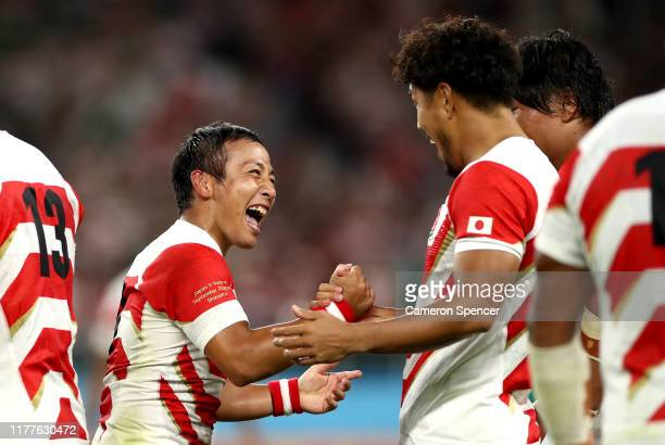 Yutaka Nagare of Japan celebrates victory with teammates following the Rugby World Cup 2019 Group A game between Japan and Ireland at Shizuoka...