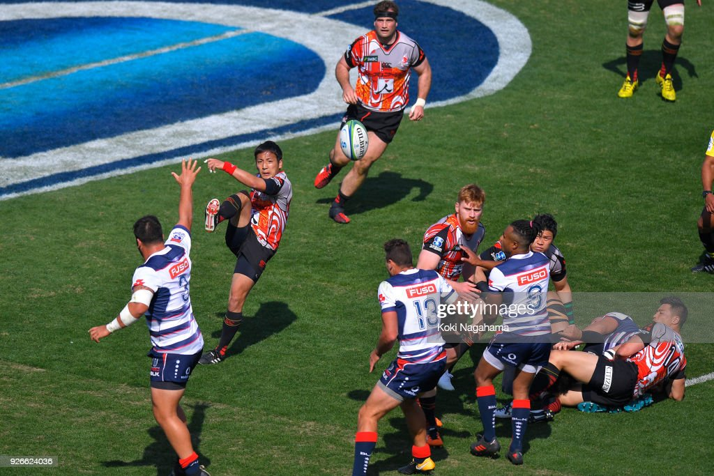 Yutaka Nagere #9 of Sunwolves kicks the ball during the Super Rugby round 3 match between Sunwolves and Rebels at the Prince Chichibu Memorial Ground on March 3, 2018 in Tokyo, Japan.