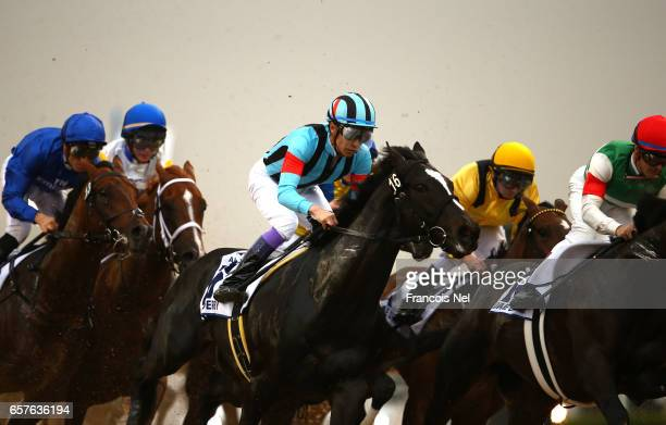 Yutaka Take riding Adirato in the UAE Derby Sponsored By The Saeed Mohammed Al Naboodah Group during the Dubai World Cup at the Meydan Racecourse on...