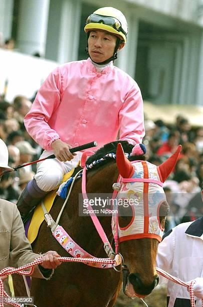 Yutaka Take riding Haru Urara is seen in the paddock prior to the YS Derby Jockey Special at Kochi Racecourse on March 22 2004 in Kochi Japan