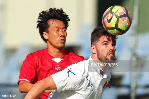 Yutaro Shin of United 58 applies pressure on a White Eagles player during the Men's NSW NPL match between Sydney United 58 FC and Bonnyrigg White...