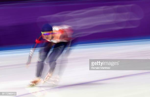 YuTing Huang of Chinese Taipei competes during the Ladies 1500m Long Track Speed Skating final on day three of the PyeongChang 2018 Winter Olympic...