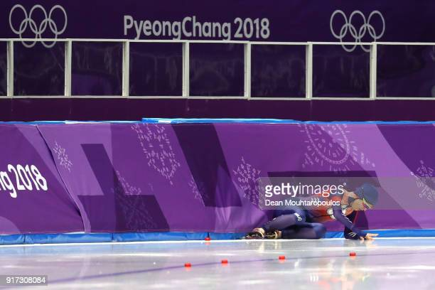 YuTing Huang of Chinese Taipei falls while competing during the Ladies 1500m Long Track Speed Skating final on day three of the PyeongChang 2018...