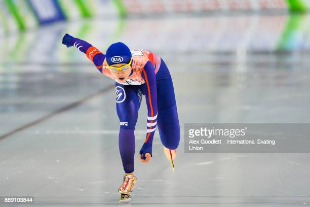 YuTing Huang of Taipei competes in the ladies 500 meter race during day 2 of the ISU World Cup Speed Skating event on December 9 2017 in Salt Lake...