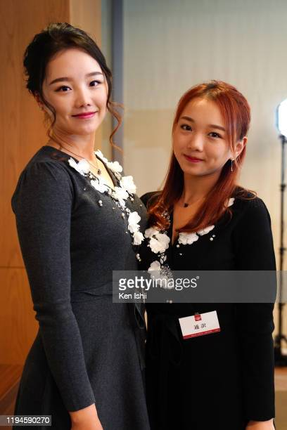 Yuting Seki of China and her sister Yuli are seen prior to the LPGA Awards on December 18, 2019 in Tokyo, Japan.