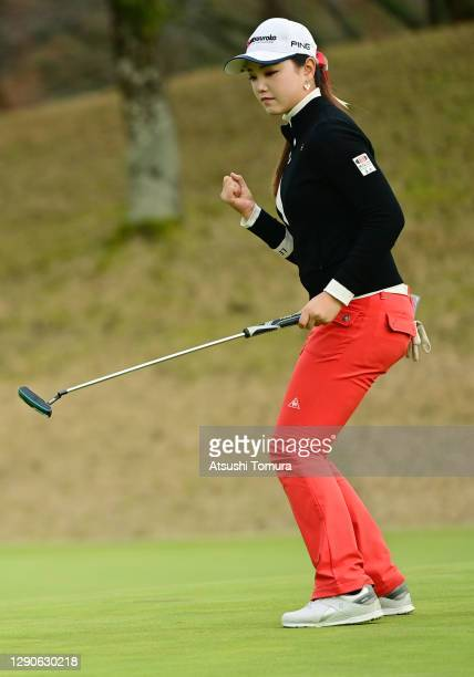 Yuting Seki of China celebrates the birdie on the 16th green during the final round of the JLPGA Rookies Championship Kaga Electronics Cup at the...