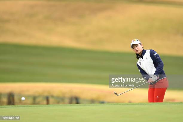 Yuting Seki of China chips onto the 1st green during the final round of the Studio Alice Open at the Hanayashiki Golf Club Yokawa Course on April 9...