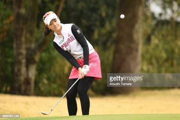Yuting Seki of China chips onto the 1st green during the second round of the Studio Alice Open at the Hanayashiki Golf Club Yokawa Course on April 8...