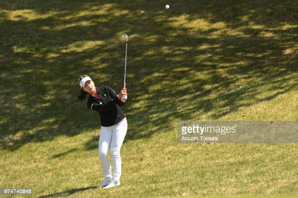 Yuting Seki of China chips onto the 1st green during the second round of the CyberAgent Ladies Golf Tournament at the Grand Fields Country Club on...