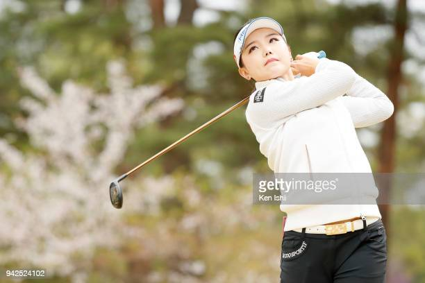Yuting Seki of China hits a tee shot on the 2nd hole during the final round of the Hanasaka Ladies Yanmar Golf Tournament at Biwako Country Club on...