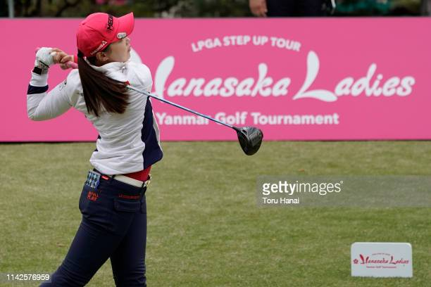 Yuting Seki of China hits a tee shot on the first hole during the final round of the Hanasaka Ladies Yanmar Golf Tournament at Biwako Country Club on...