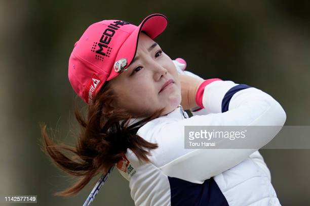 Yuting Seki of China hits a tee shot on the third hole during the final round of the Hanasaka Ladies Yanmar Golf Tournament at Biwako Country Club on...