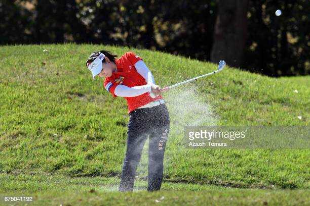 Yuting Seki of China hits from a bunker on the 2nd hole during the final round of the CyberAgent Ladies Golf Tournament at the Grand Fields Country...