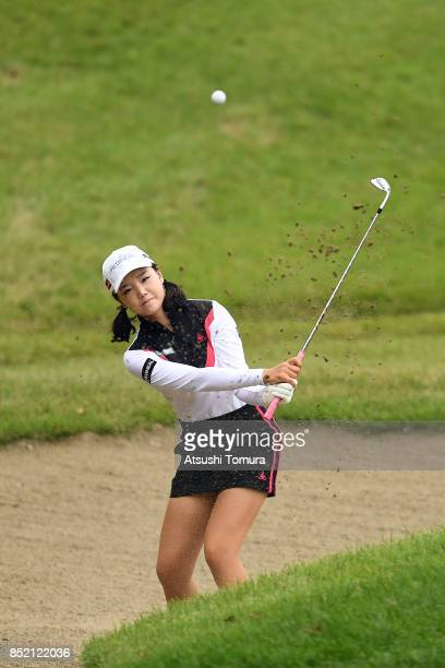 Yuting Seki of China hits from a bunker on the 6th hole during the second round of the Miyagi TV Cup Dunlop Ladies Open 2017 at the Rifu Golf Club on...
