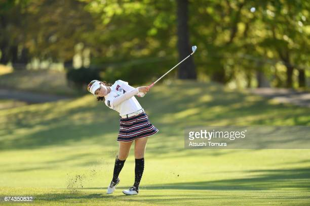 Yuting Seki of China hits her second shot on the 16th hole during the first round of the CyberAgent Ladies Golf Tournament at the Grand Fields...