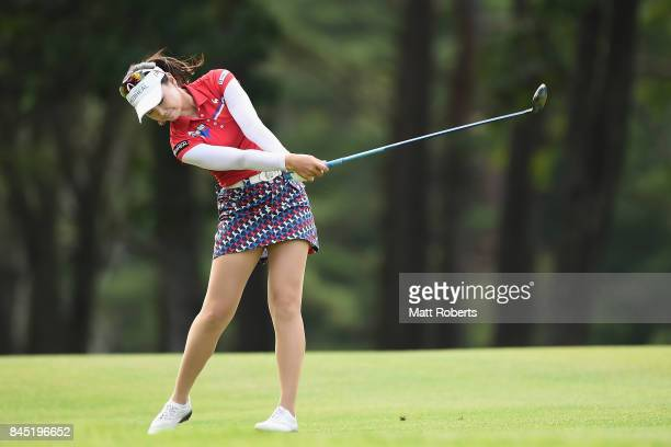 Yuting Seki of China hits her second shot on the 18th hole during the final round of the 50th LPGA Championship Konica Minolta Cup 2017 at the Appi...