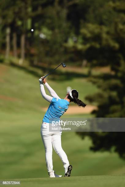 Yuting Seki of China hits her second shot on the 4th hole during the second round of the HokennoMadoguchi Ladies at the Fukuoka Country Club Wajiro...