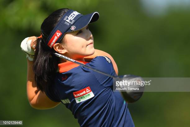 Yuting Seki of China hits her tee shot on the 10th hole during the first round of the Hokkaido meiji Cup at the Sapporo International Country Club...