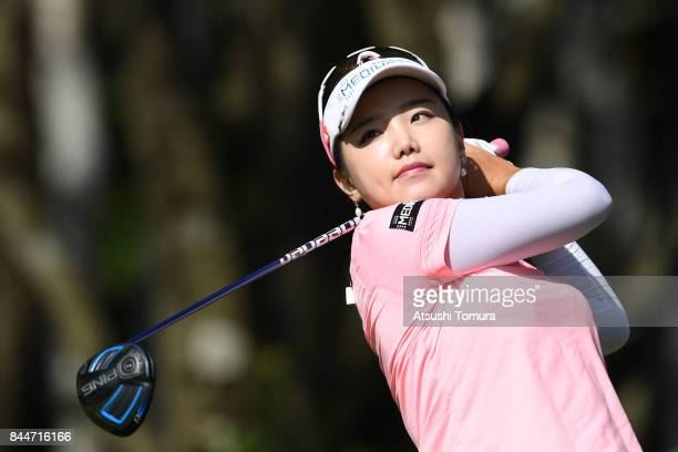 Yuting Seki of China hits her tee shot on the 11th hole during the third round of the 50th LPGA Championship Konica Minolta Cup 2017 at the Appi...