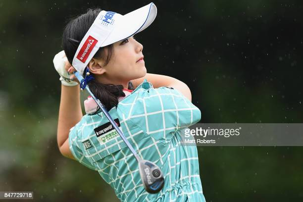 Yuting Seki of China hits her tee shot on the 11th hole during the second round of the Munsingwear Ladies Tokai Classic 2017 at the Shin Minami Aichi...
