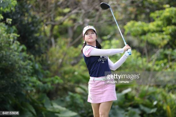 Yuting Seki of China hits her tee shot on the 12th hole during the final round of the Daikin Orchid Ladies Golf Tournament at the Ryukyu Golf Club on...