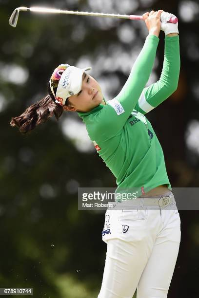 Yuting Seki of China hits her tee shot on the 13th hole during the second round of the World Ladies Championship Salonpas Cup at the Ibaraki Golf...