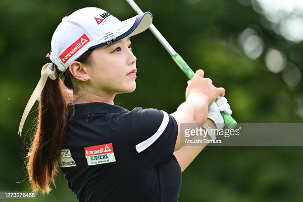 Yuting Seki of China hits her tee shot on the 1st hole during the first round of the Descente Ladies Tokai Classic at the Shin Minami Aichi Country...