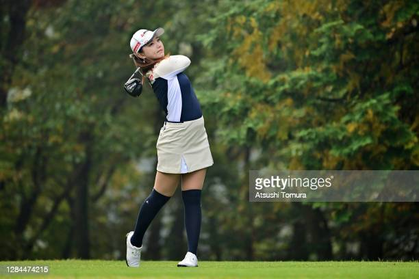 Yuting Seki of China hits her tee shot on the 2nd hole during the final round of the TOTO Japan Classic at the Taiheiyo Club Minori Course on...